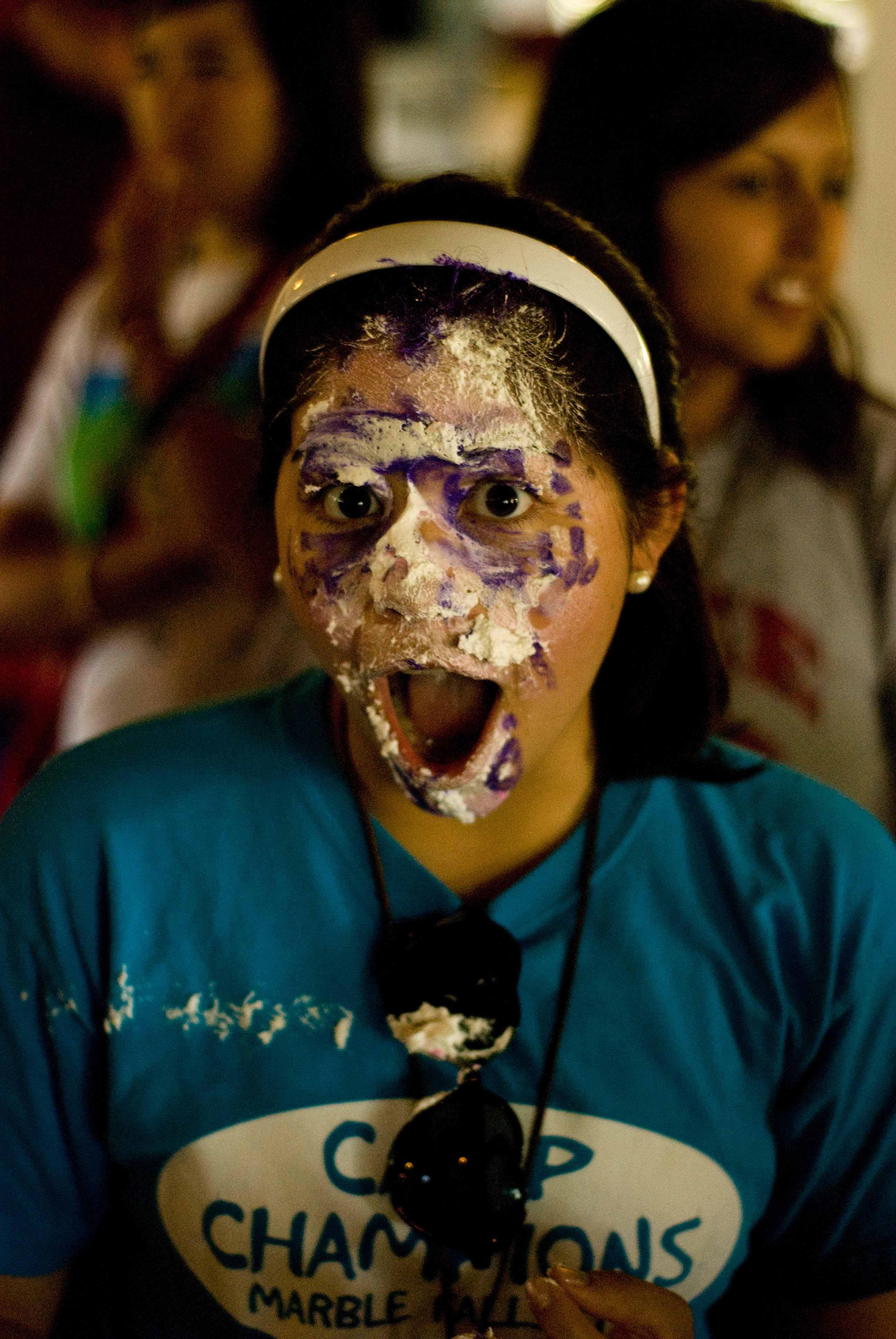 Cake in face